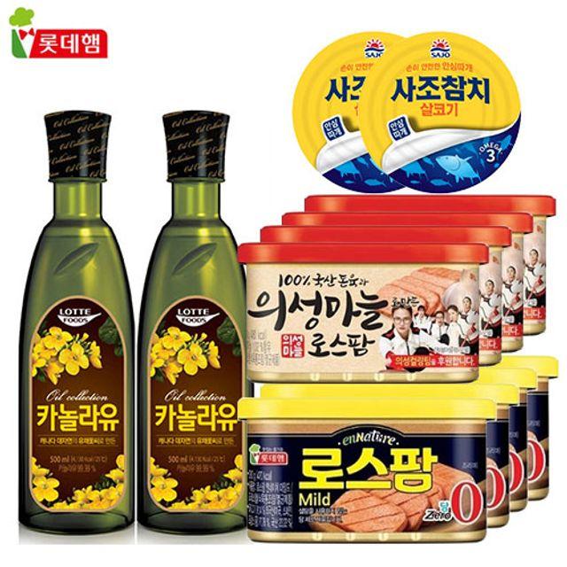 롯데사조 12팩 (의성마늘 로스팜 사조참치 카놀라유 )