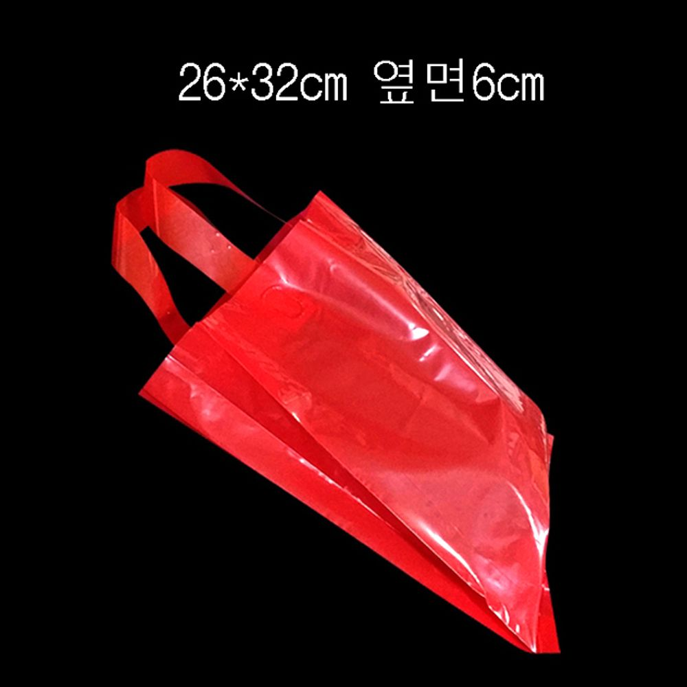 PE 손잡이 팬시봉투 -레드 26X32cm 옆면6cm 25매