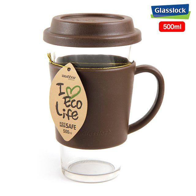 글라스락 에코 유리 텀블러 유리컵(브라운)-500ml