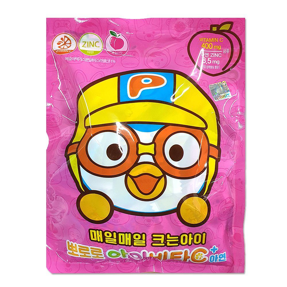 뽀롱뽀롱 아이비타C+ 아연 50정 복숭아맛