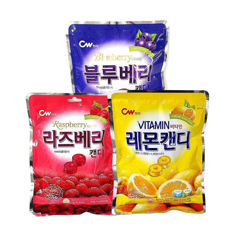 청우식품 라즈베리 블루베리 비타민 레몬 캔디 100g