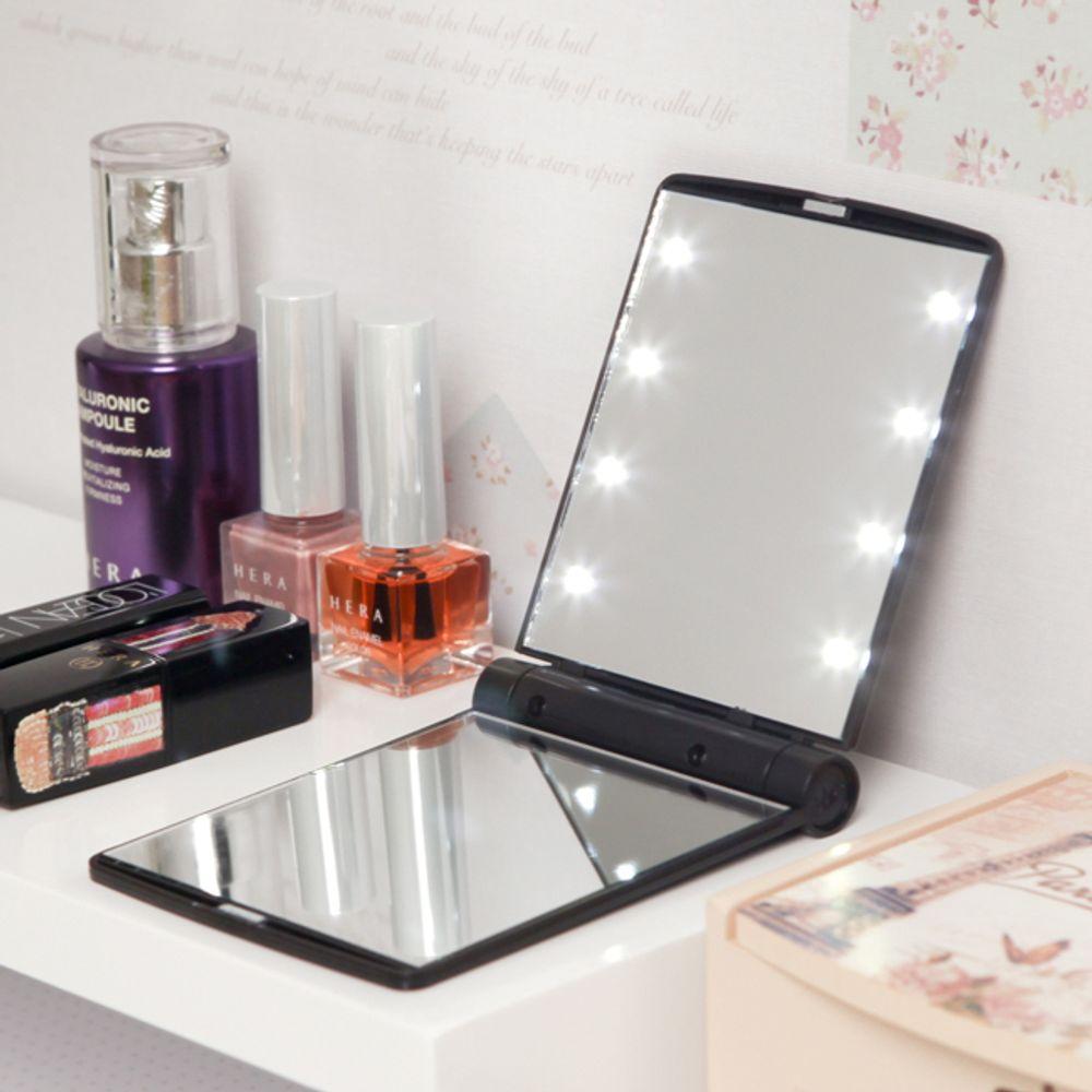 접이식 LED 조명 휴대용 손거울