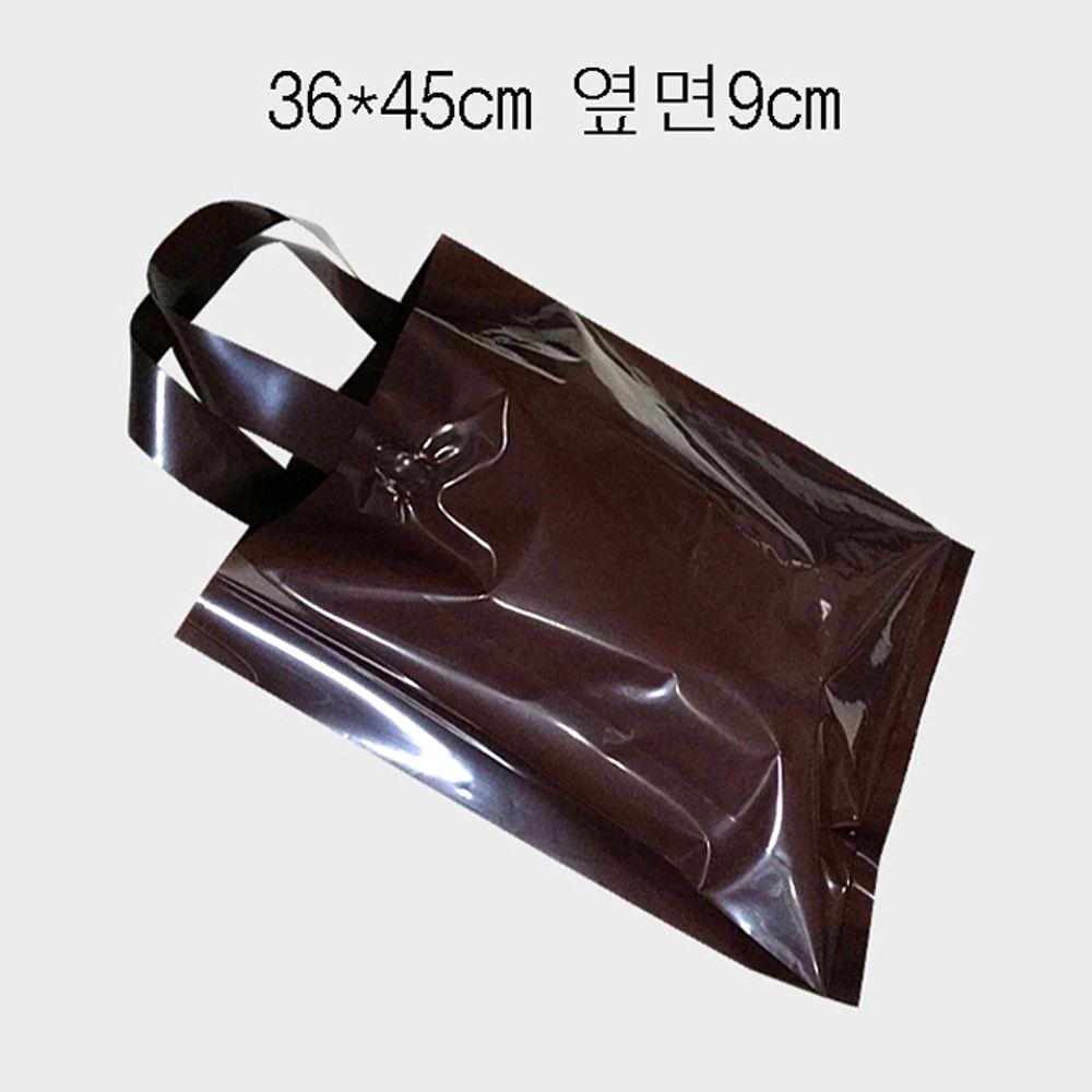 PE 손잡이 팬시봉투 -브라운 36X45cm 옆면9cm 25매