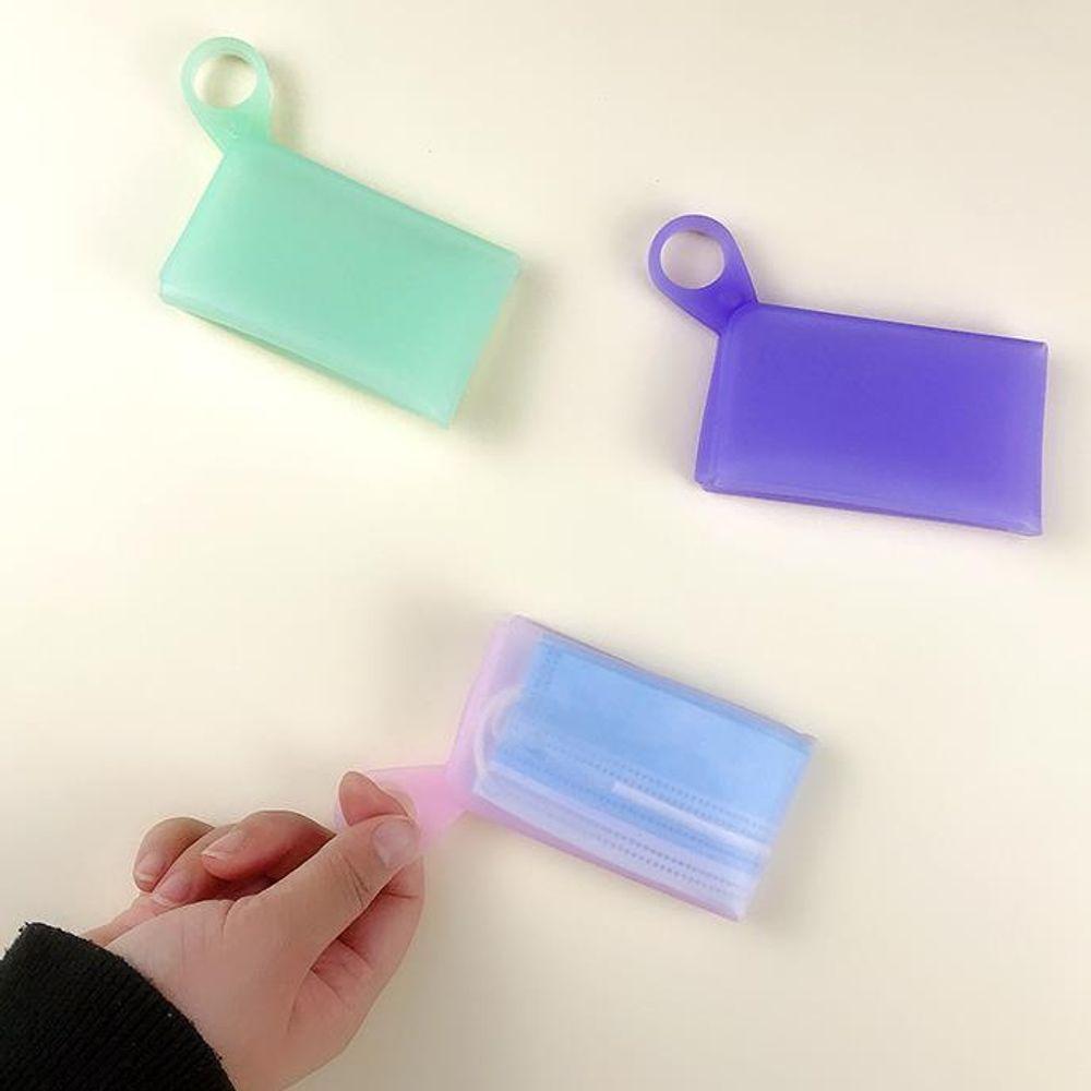 키밍 실리콘 마스크 수납 파우치 커버 걸이식 휴대용