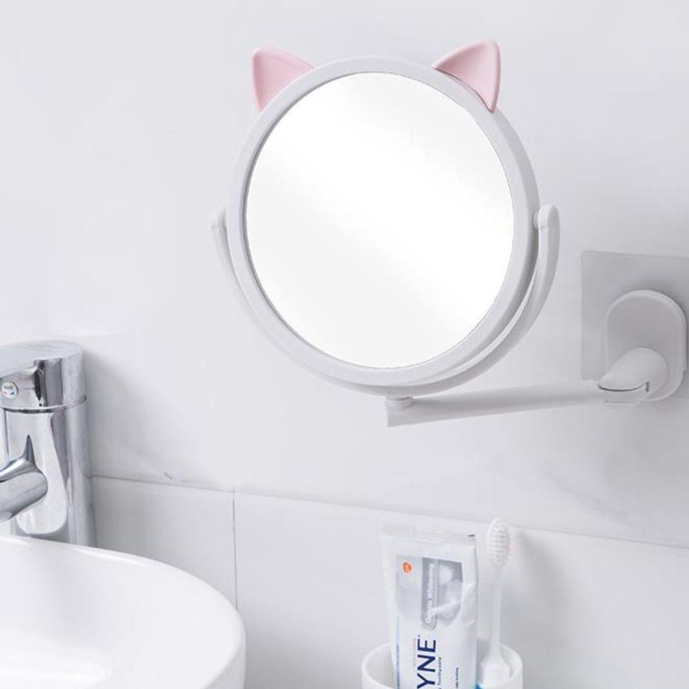360도 회전 흡착 거울 욕실 메이크업 고양이 거울