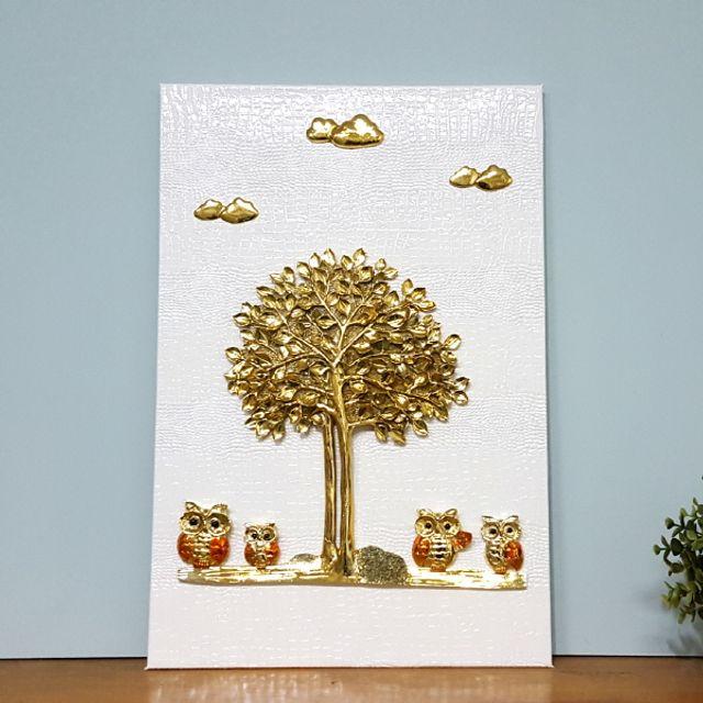 로댐 돈나무 부엉이 화이트골드 벽걸이 그림액자