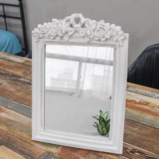 인테리어 소품 화이트 장미 사각 거울