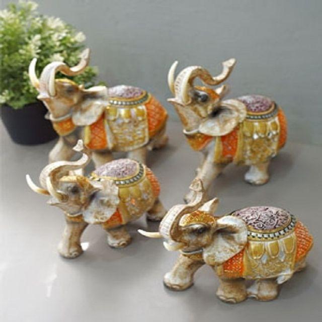 코끼리소품 오렌지 코끼리 중 인테리어소품 장식소품