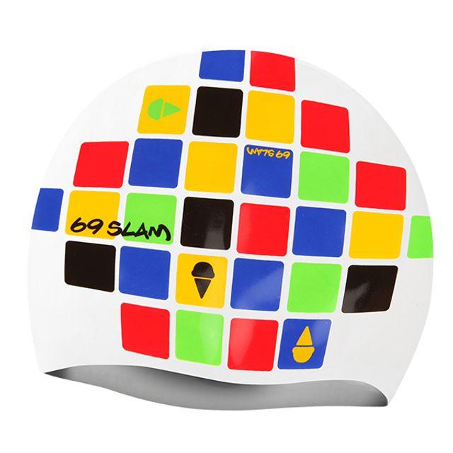 수중운동용품 큐브 WHT69SLAM 실리콘 수모 수영용품 수영모자 디자인수영모