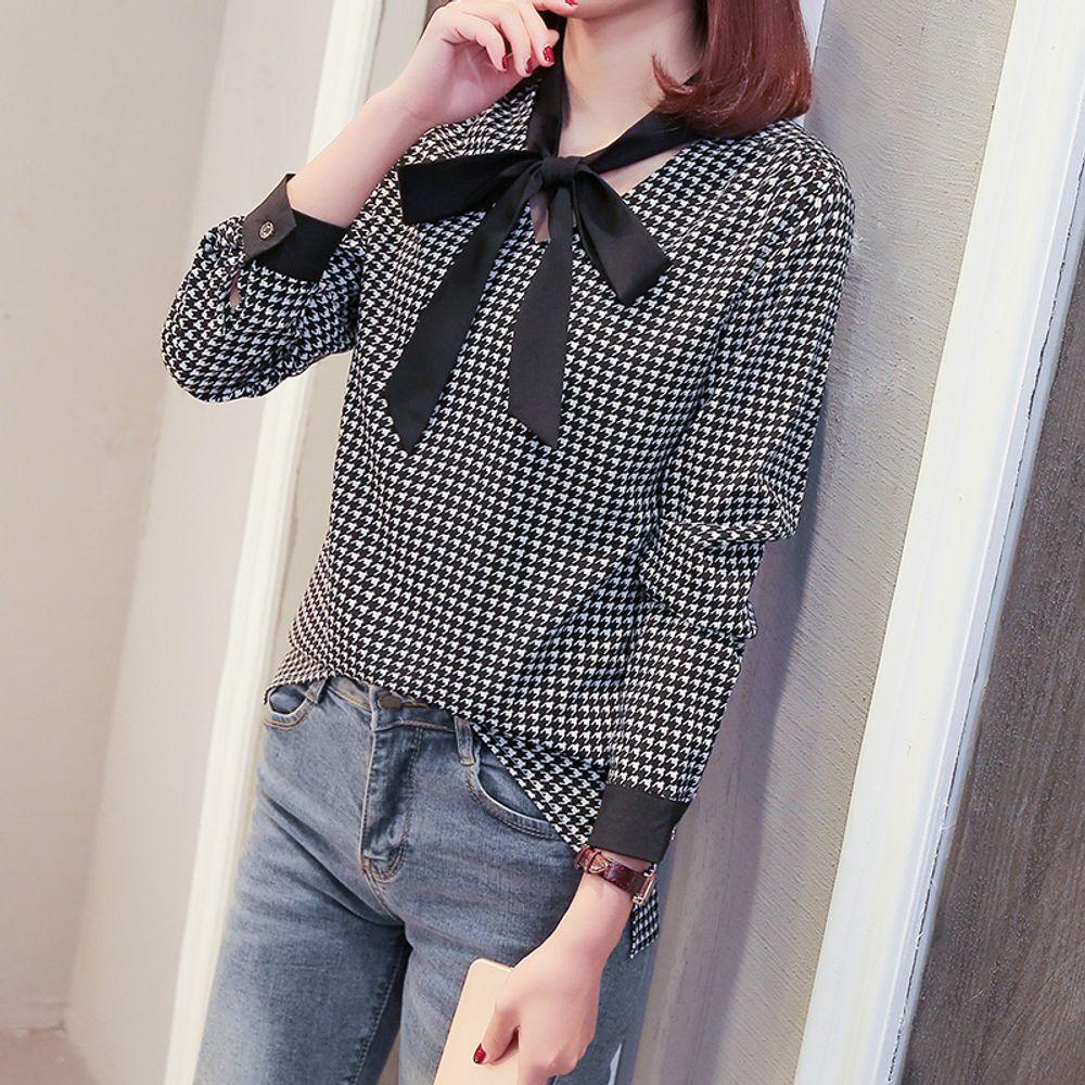 [더산직구]나비넥타이 긴소매 시폰셔츠 여성 인쇄 셔츠 블라우스/ 배송기간 영업일기준 7~15일