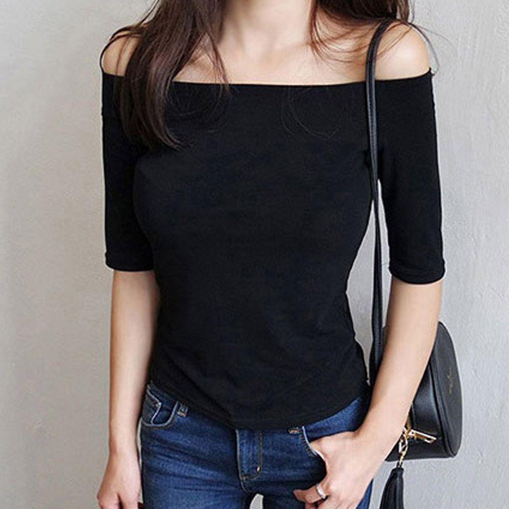7부 소매 살짝 와이드한 입술넥 오프숄더 여성 티셔츠
