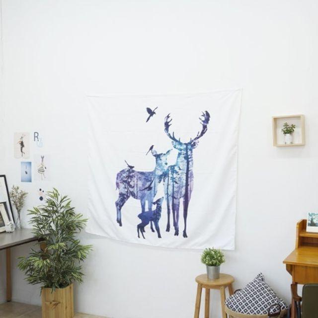 벽공간 인테리어소품 가림막 사슴가족 태피스트리