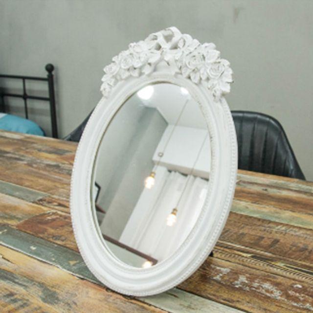 화이트 장미 원형 거울
