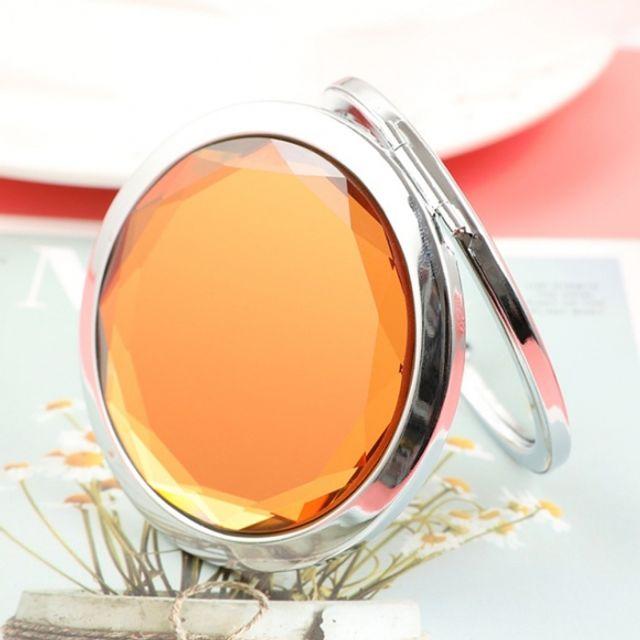 휴대용 크리스탈 양면 손거울 (오렌지)
