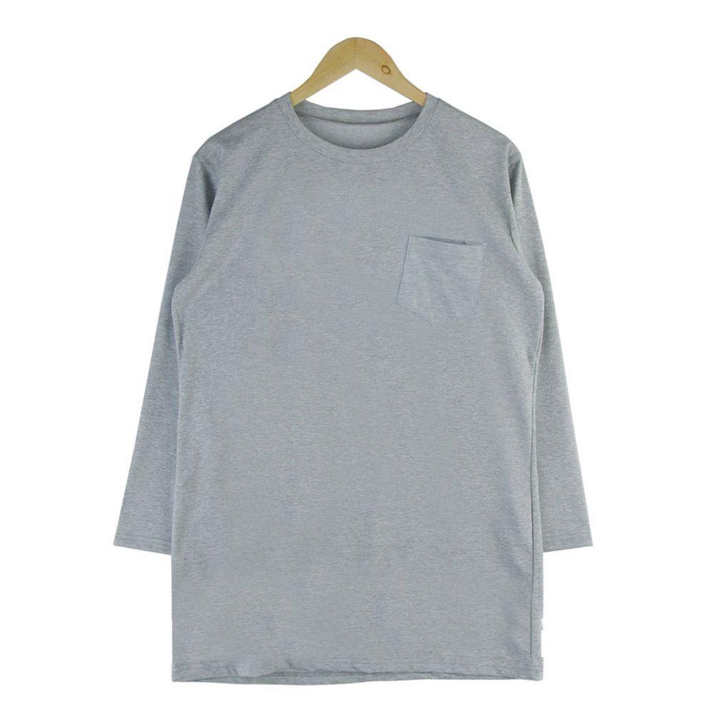 여자 라운드 무지 긴팔 가슴 포켓 라운드 티셔츠