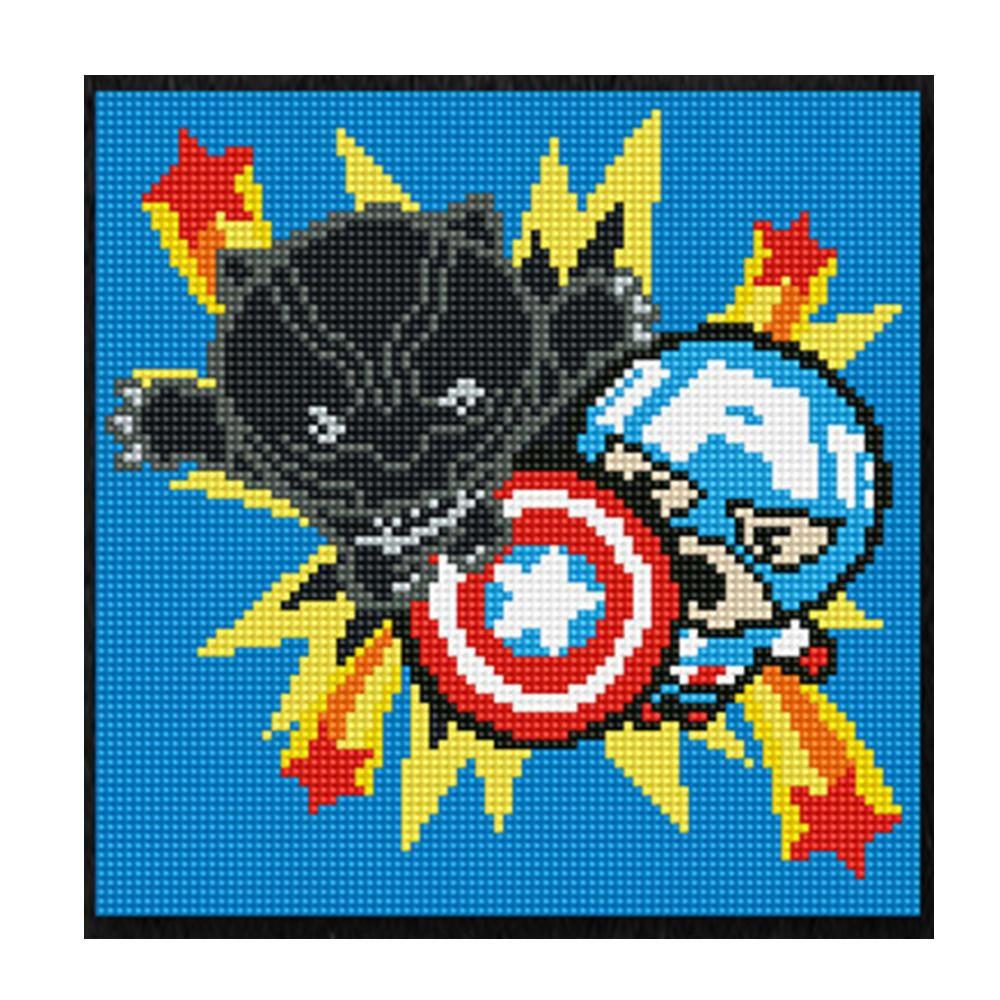 DIY 보석십자수 가와이 블랙펜서 캡틴아메리카 25X25