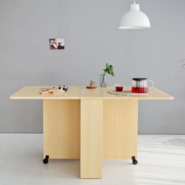 OLVIA 공간활용 바퀴달린테이블 접이식테이블 버치
