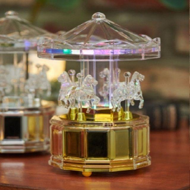 LED 투명 회전목마 오르골 2색 데코 소품 장식품