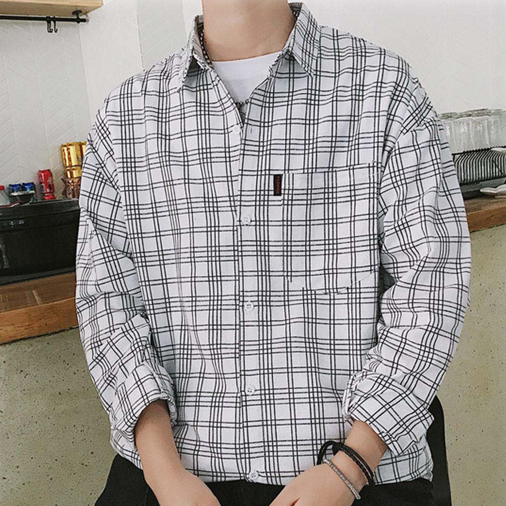 남성 사각줄무늬 캐주얼 긴팔 남방 셔츠 나들이옷