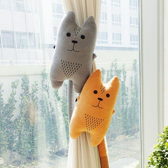 동물 커튼 타이백 커텐 장식 인형_고양이 그레이