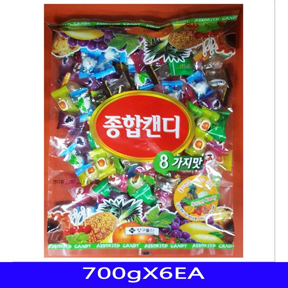 종합캔디 사탕 업소용 간식 대용량 쌀로만 700gX6EA