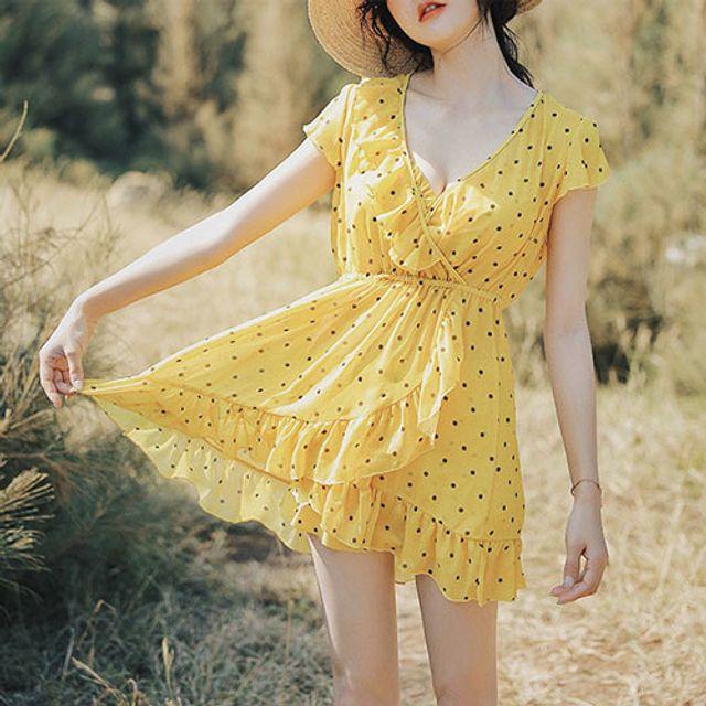 옐로우 도트 원피스수영복 - 비치웨어