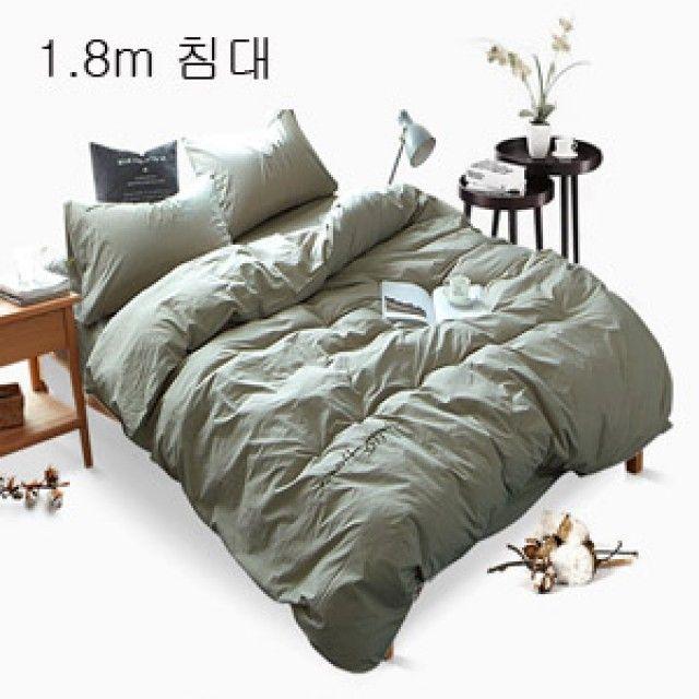 TOP신상 패션 캐주얼 미니얼 워싱면 침대커버세트(1.8m)