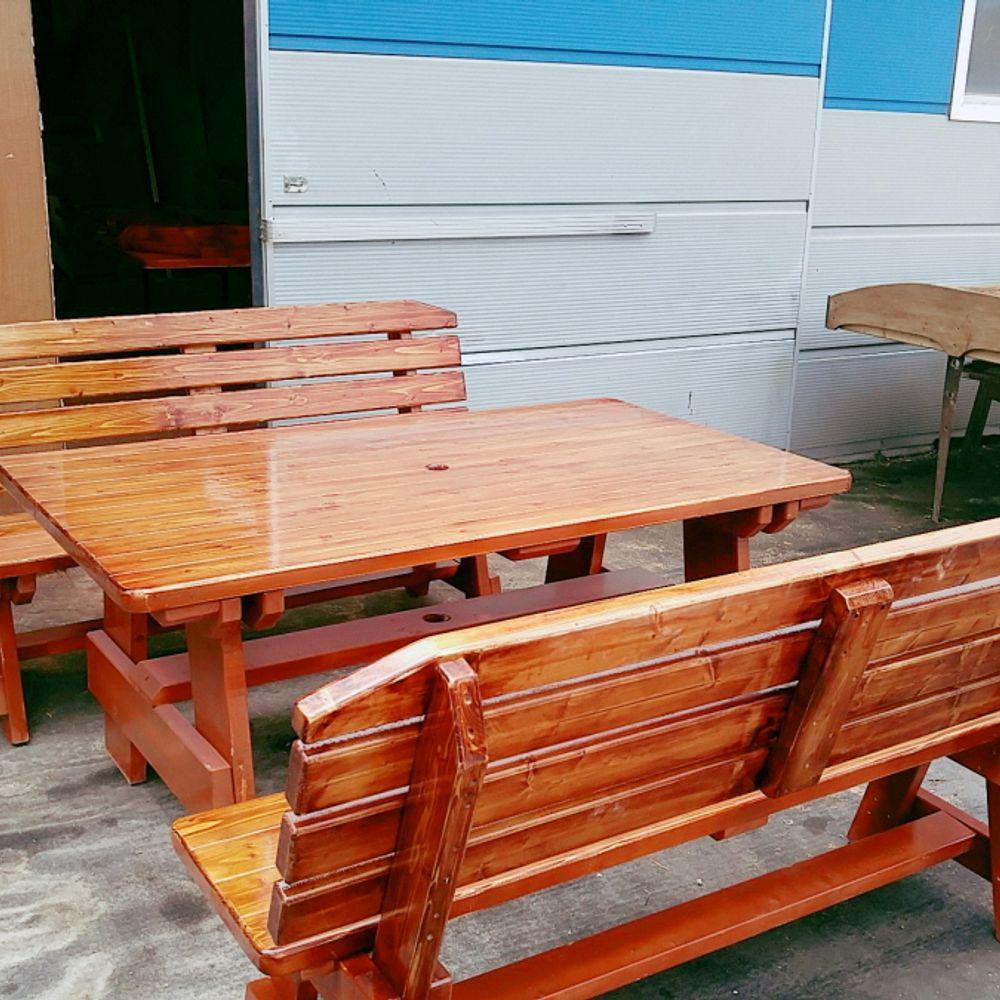 6인용 원목야외원목테이블 정원테이블 야외테이블