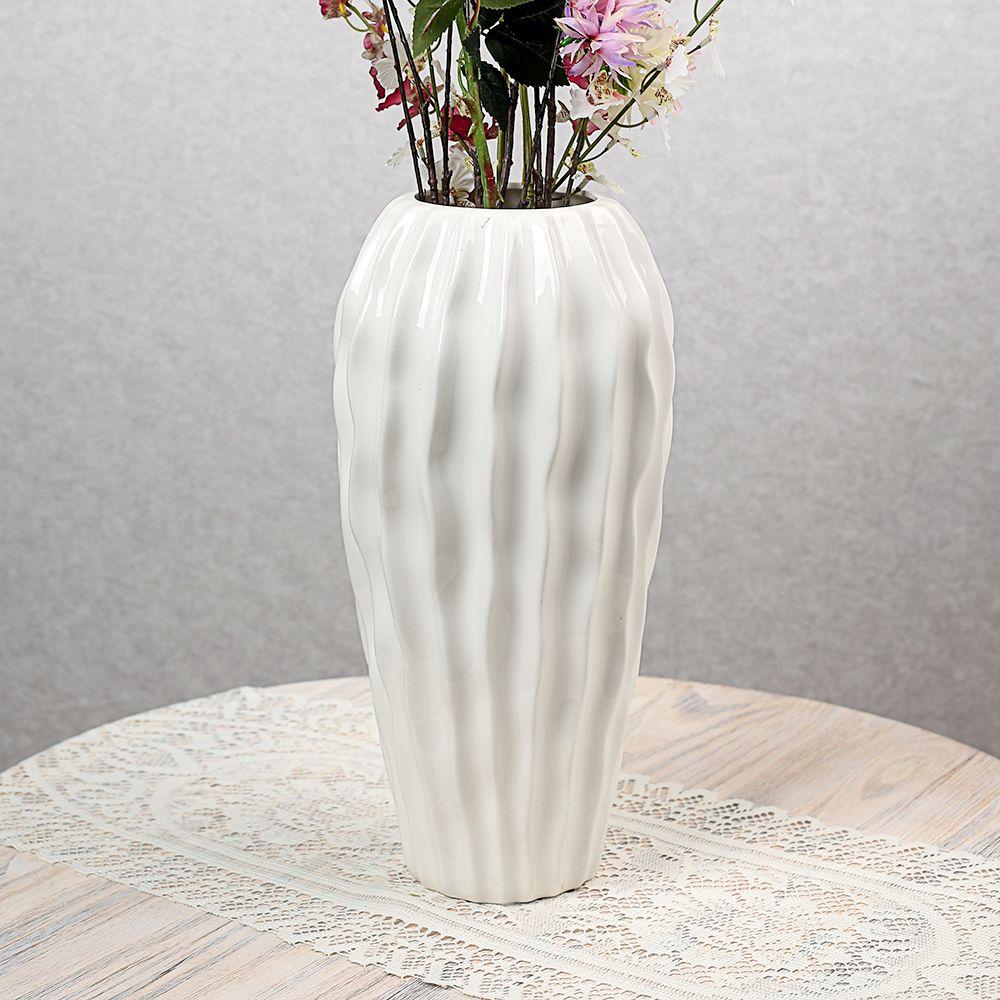 (V51)인테리어 웨이브 도자기 인테리어 꽃병