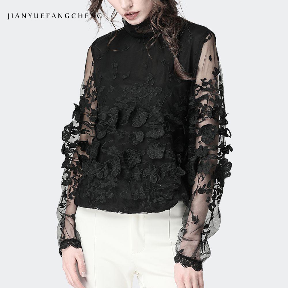 [더산직구]봄 레이스 셔츠 여성 패션 슬림 스탠드 칼라 와이셔츠/ 배송기간 영업일기준 7~15일