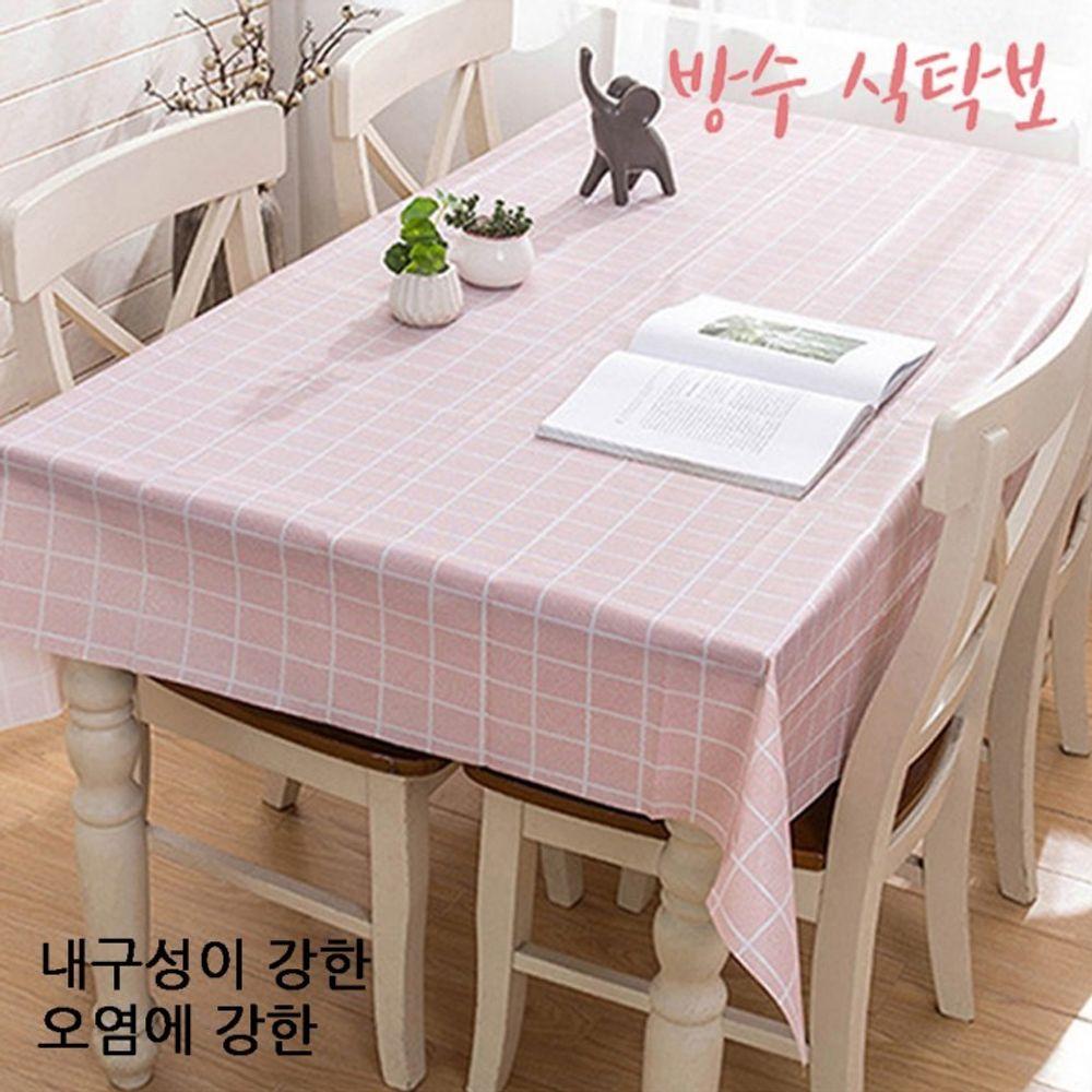 파스텔체크 방수테이블보 식탁보 테이블매트 137x137