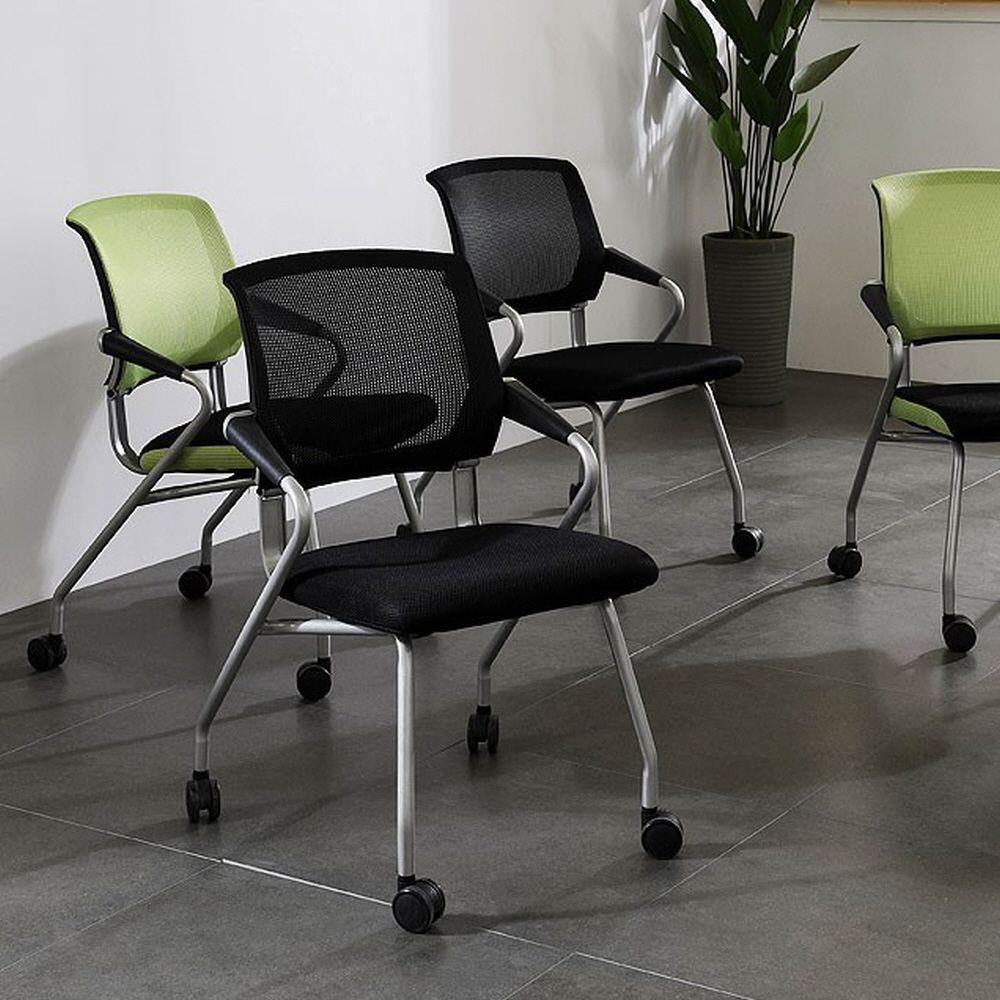 이동 편리한 접이식 사무실 회의실 팔걸이 의자