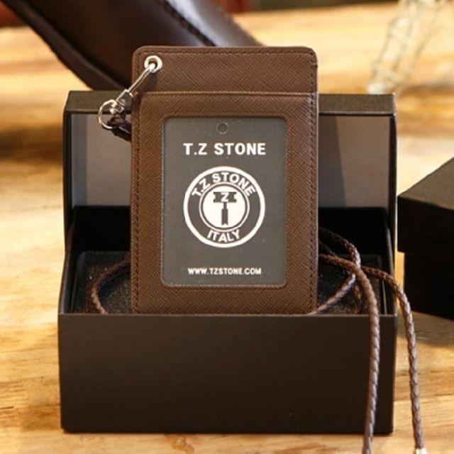TZ122 카드지갑 목걸이 카드케이스 가죽 사피아노 다크브라운 목걸이형 (투명창)