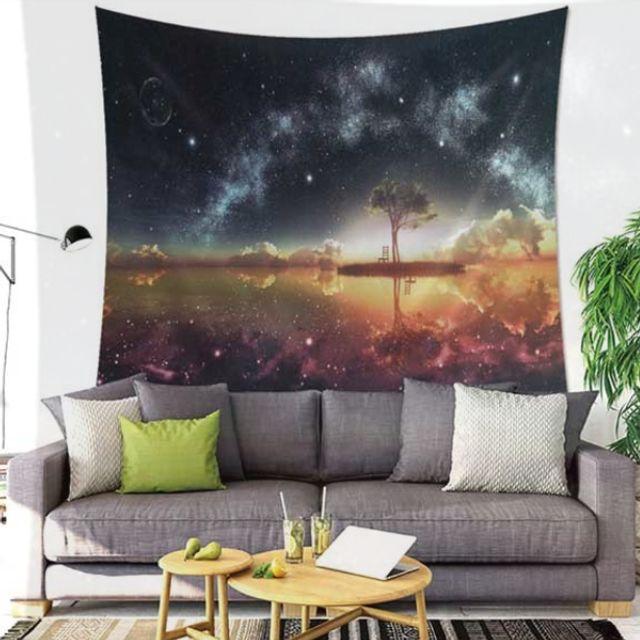 우주 석양섬 패브릭 월 데코 가림막 포스터 (대)