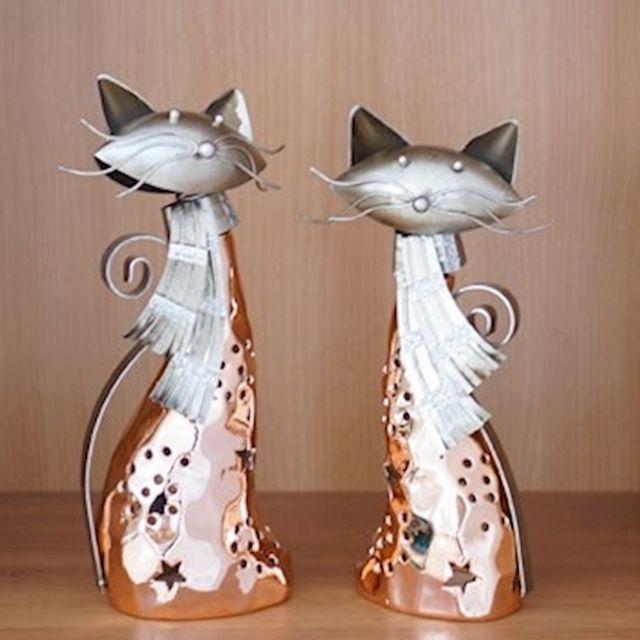 앤틱 카페인테리어소품 티라이트홀더 고양이 촛대 2P