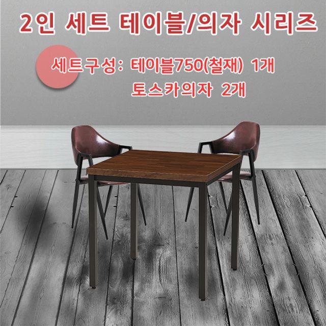 2인 테이블 의자 세트 철재 TS-750 식탁 책상 다용도