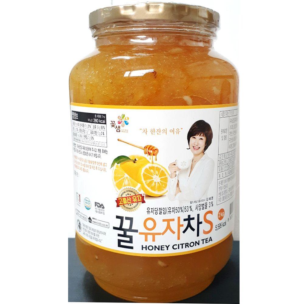 꿀유자차 꽃샘 2kg x3개 업소용 사무실 건강차 회사