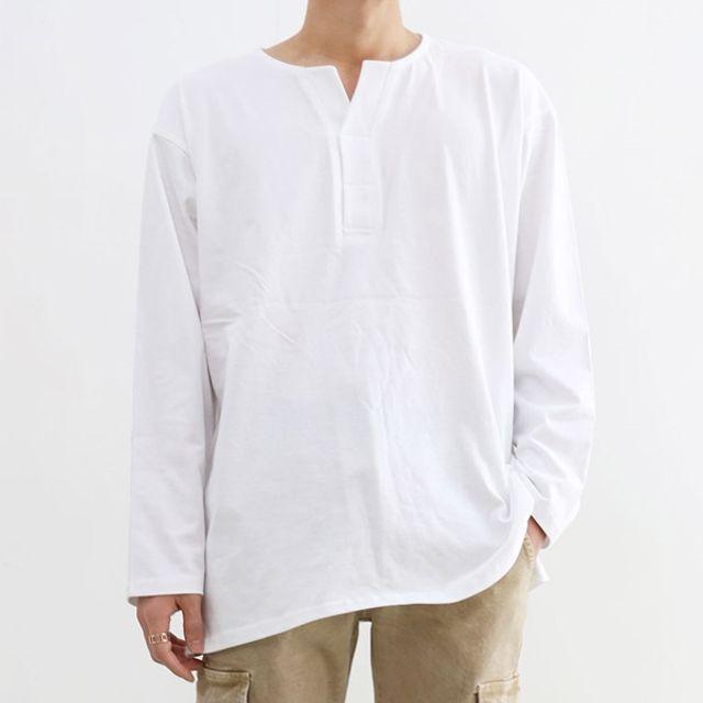 남자 빅사이즈 오버핏 긴팔 면 티셔츠 국내생산