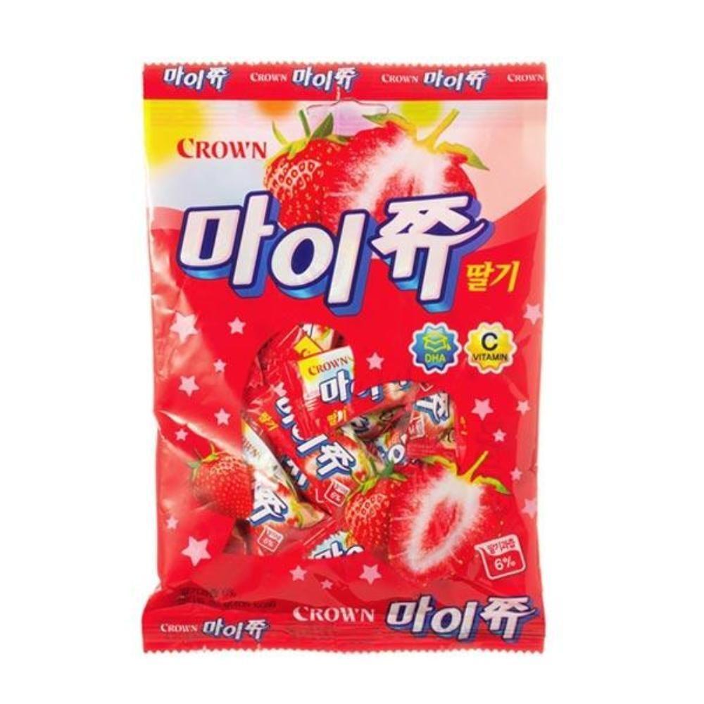 크라운 마이쮸 딸기 필로우 92g 간식 캬라멜 스낵
