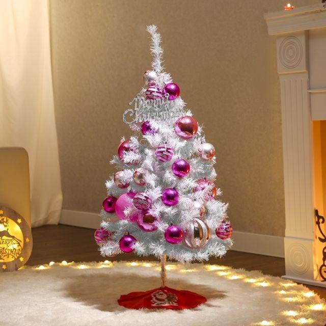 성탄절 90cm 메리핑크 화이트 트리 풀세트 인테리어 장식 크리스마스 5408F1