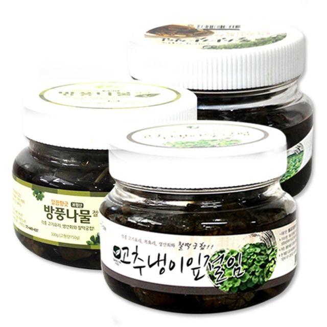 미소반 깊은맛을 살린 건강하고 맛있는 절임 3종세트 4호(고추냉이잎 돌산갓 방풍나물)