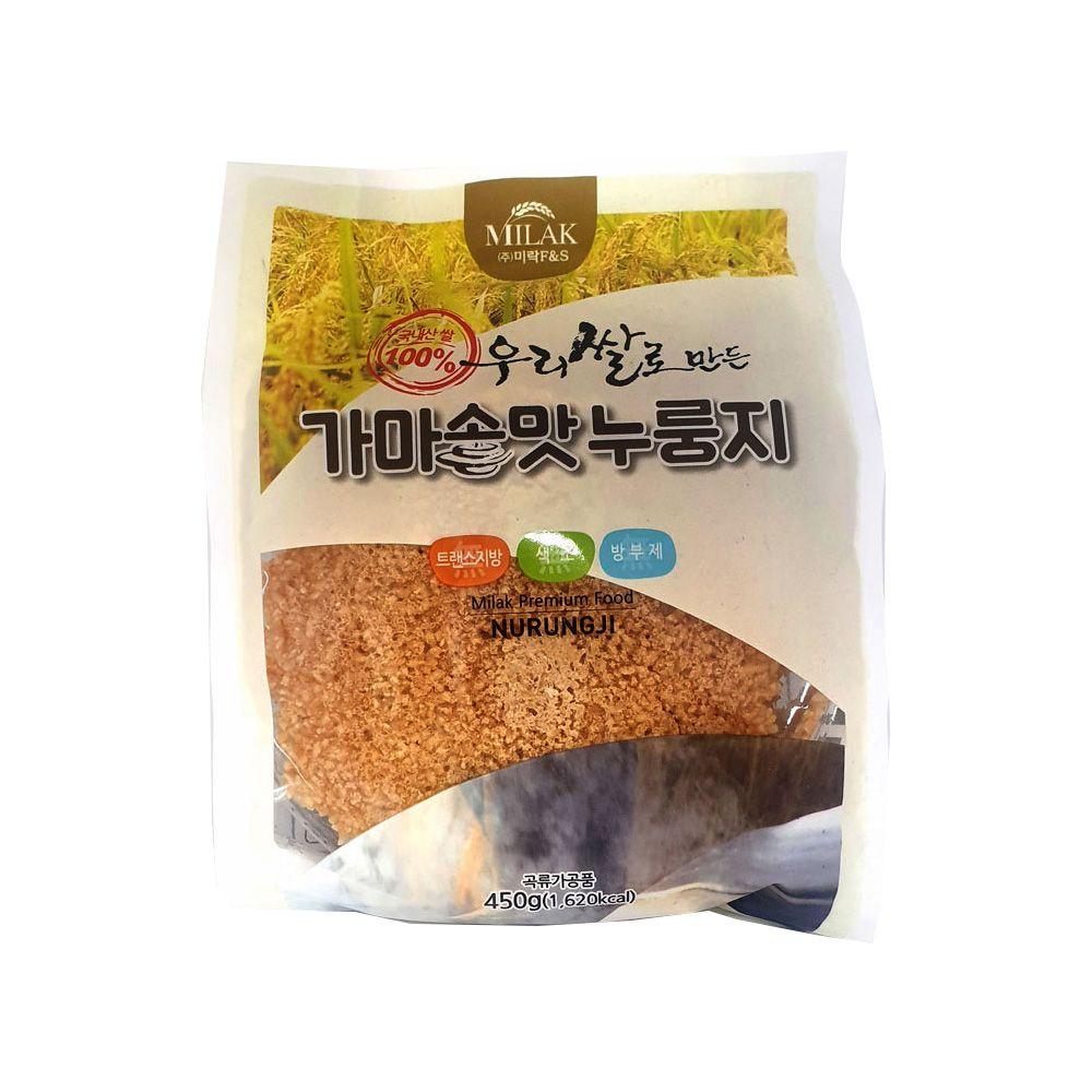 우리쌀로 만든 미락 가마솥맛 누룽지 450g/ 소포장