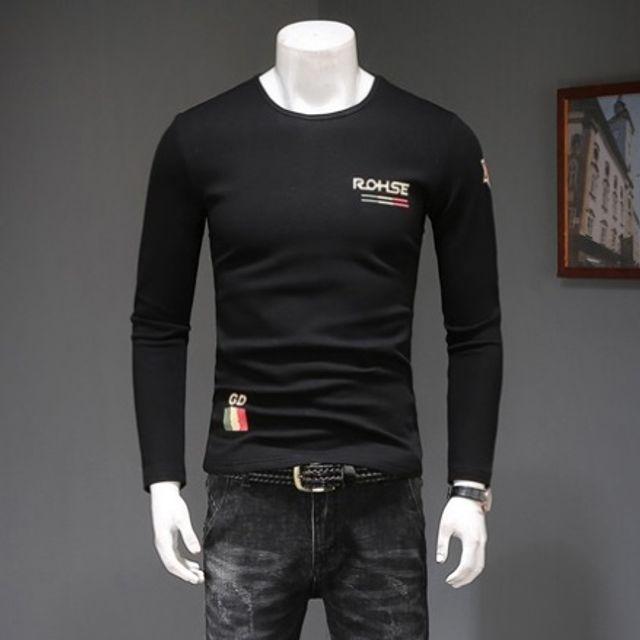남자긴팔 티셔츠 트렌드 캐주얼 긴팔티 블랙