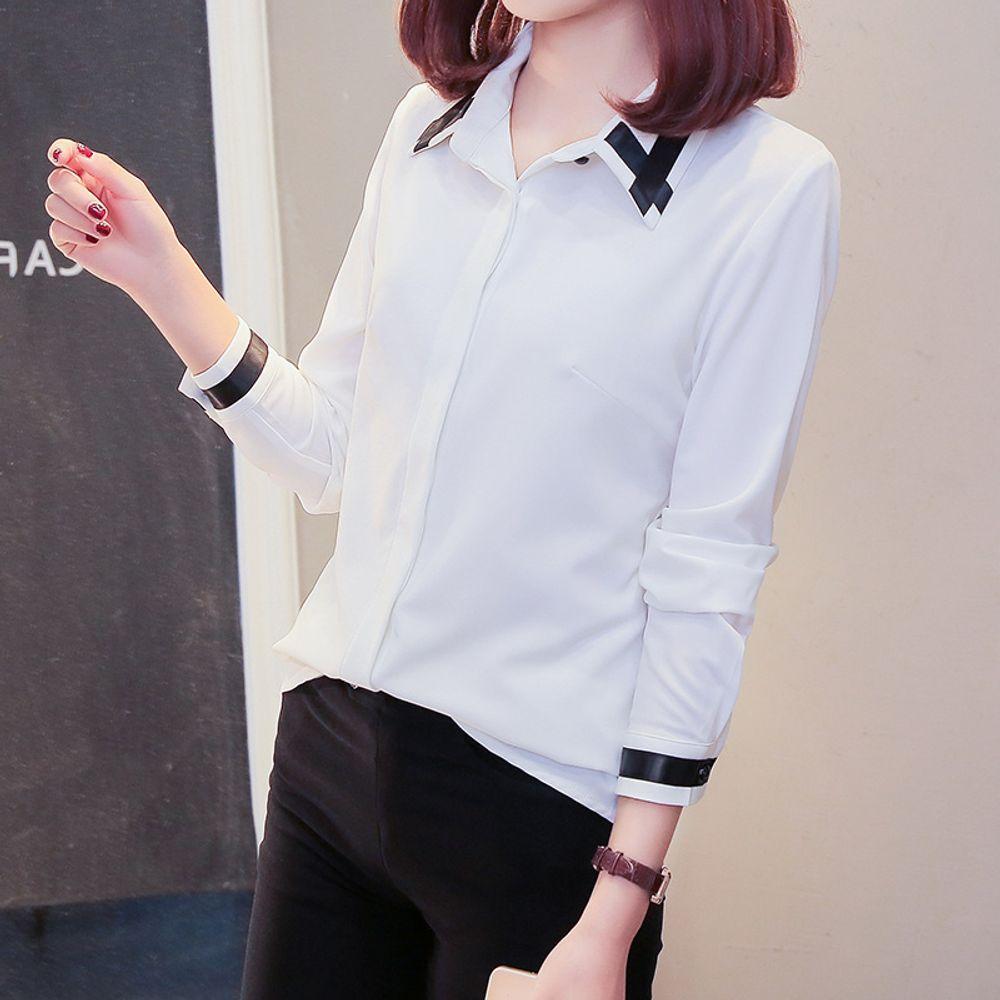 [더산직구]여성셔츠 느슨한 캐주얼 흰셔츠 쉬폰셔츠 칼라 직업/ 배송기간 영업일기준 7~15일