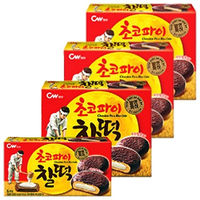 청우)초코파이 찰떡 280g x 4개 초코릿 쿠키 달콤 부드러움 쫀득 우리쌀