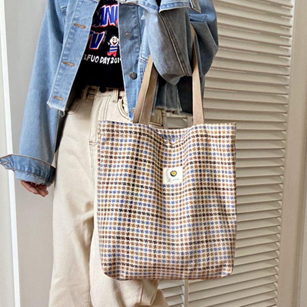 여성 체크 패턴 에코백 숄더백 인기 트렌디 가방