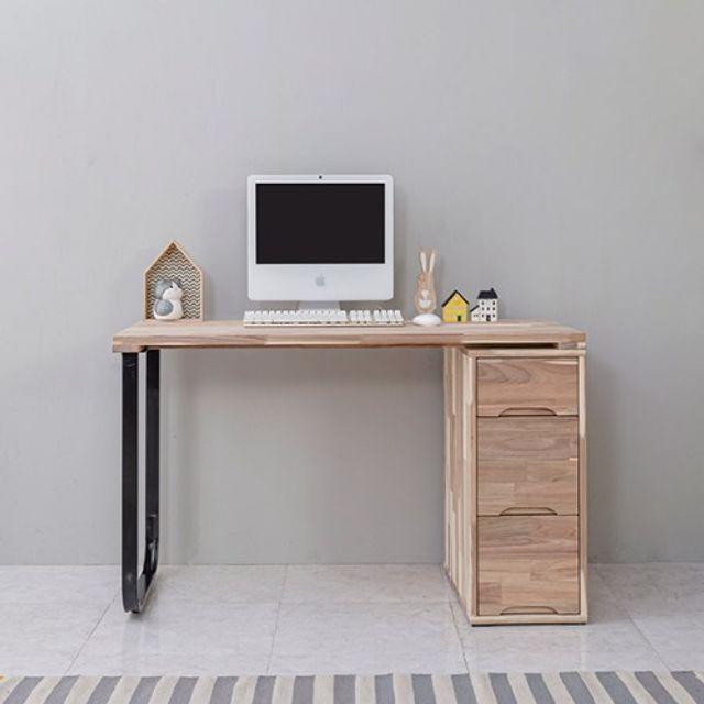 철다리원목책상(1000) 서랍장 노트북 학생 공부테이블