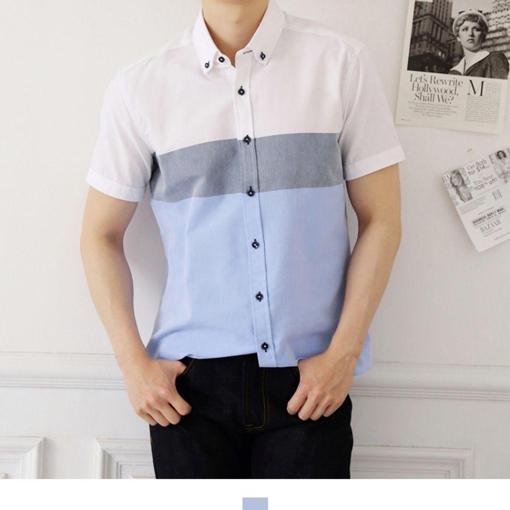 소라 더블 배색 여름 반팔 셔츠