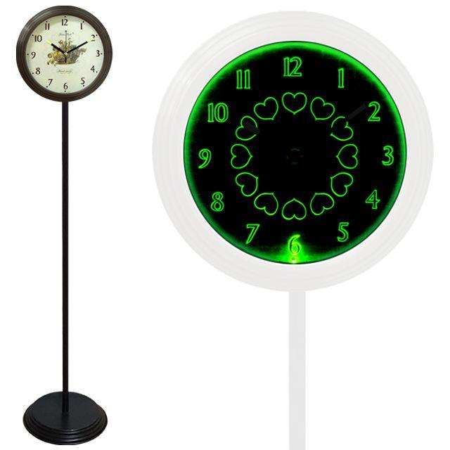GB6707 무소음 LED 그린 스탠드시계 블랙 과일