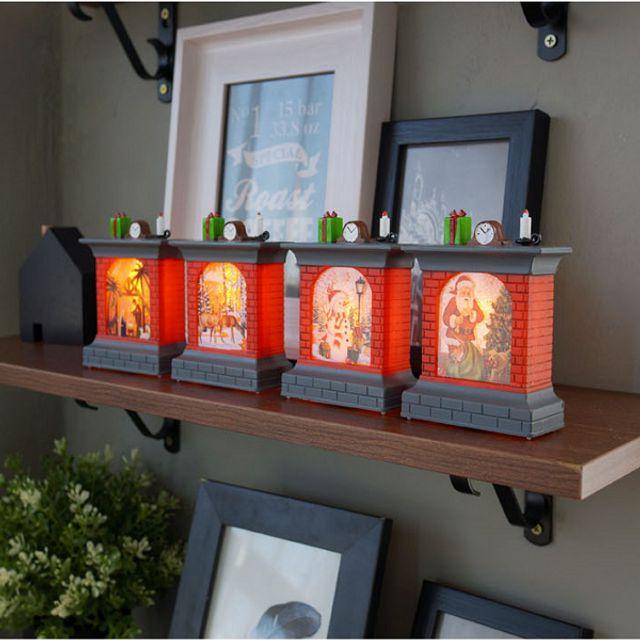 크리스마스 소품 미니 벽난로 LED조명 워터볼 오르골